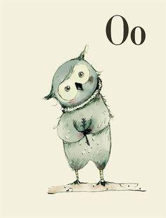 O für Owl - Alphabet Kunst - Alphabet drucken - ABC Wandkunst - ABC Drucken - Kinderzimmer Kunst - Kinderzimmer Dekoration - Kinder Zimmer D...