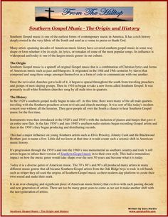 southern-gospel-music-the-origin-and-history by Gary Harbin via Slideshare