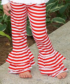 This Red & White Stripe Ruffle Pants - Infant, Toddler & Girls is perfect! #zulilyfinds
