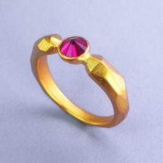 Pico De Montaña Ring Ruby  by Carrie Bilbo Art Jewelry