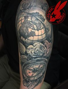 Realistic 3D Globe Compass Travel World Wander Lust Vintage Map Black and Grey Sleeve Tattoo By Jackie Rabbit Custom Tattoo by Jackie Rabbit @ Eye of Jade Tattoo 6165 Skyway, Paradise, CA (530) 343-5233 www.jackierabbittattoo.com