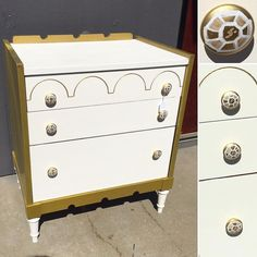 Gold and white cutie I just brought into @curiositiesvintage  #dresser #gem #gold #home #paintedfurniture #beaverton