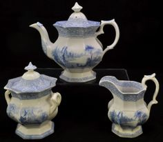 Antique Blue Transfer Staffordshire Rousillon Friburg Octagonal Tea Set 1845