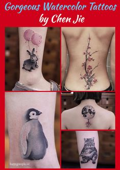 Gorgeous Watercolor Tattoos Made By Chen Jie