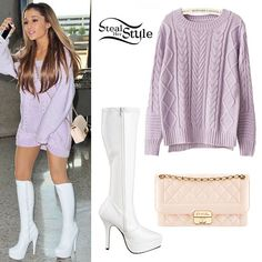 Ariana Grande: Purple Knitted Sweater Outfit - Style Steal