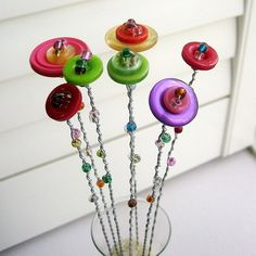 for special ladies Flower Bouquet, Button Flower Bouquet, Button Flowers, Button Flower Arrangement, Fall Flowers - No. 32 via Etsy Button Bouquet, Button Flowers, Fall Flowers, Diy Flowers, Flower Bouquets, Crafts To Sell, Diy And Crafts, Crafts For Kids, Arts And Crafts
