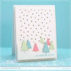 Winter Trees Die-namics, Snowfall - Vertical Die-namics, Stitched Snow Drifts Die-namics, Blueprints 24 Die-namics, Merry Everything Stamp Set - Debbie Olson  #mftstamps
