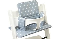 Cushion for Stokke Tripp Trapp chair, light grey with little white stars. www.ukje.nl
