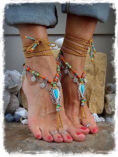 GYPSY Girl Türkis barfuss Sandalen böhmischen Sandale von GPyoga