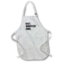 3dRose Best Wrestler Ever, fun wrestling sport gift, black and white text, Medium Length Apron, 22 by 24-inch, With Pouch Pockets