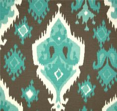 Designer Coral Turquoise Blue Ikat Geometric by CottonCircle
