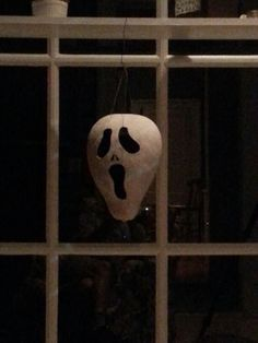 """""""Scream"""" carved gourd, drying from whitewash experiment using diluted latex ceiling paint"""
