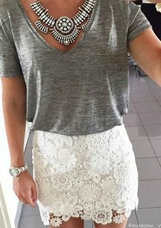 Casual + lacy I love that lace can be used through fall in the right colors - Charm Statement Necklace  #ootd - €24.90 @happinessboutique.com
