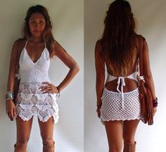 Handmade Crochet Dress. Boho Dress Beach Dress 12 by SpellMaya