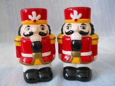 Nutcracker Salt and Pepper Shakers - vintage, collectible, Christmas, Holiday by DEWshophere on Etsy