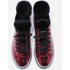 Burgundy Fur Trim Cow Leather Low Top Sneakers (120 BAM) ❤ liked on Polyvore featuring shoes, sneakers, shein, low profile sneakers, low profile shoes and low top