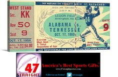 Gift ideas on Pinterest. Football gifts. Football art. 1959 #Alabama #CrimsonTide vs. #Tennessee #Vols #SEC #collegefootball ticket canvas art. #vintage #sports #gifts #mancave #gameroom #homedecor #47straight