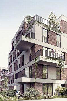 Facade design for new Hohenlind housing development in Cologne Architecture Design Concept, Detail Architecture, Plans Architecture, Islamic Architecture, Facade Design, Residential Architecture, Exterior Design, Kindergarten Architecture, Brick Facade