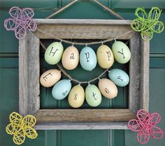 Click Pic for 25 DIY Easter Decorations for the Home - Easter Frame Wreath - Easter Table Decorations