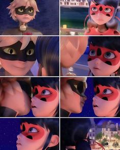 Ladybug is blushing after Chat kissed her on the cheek