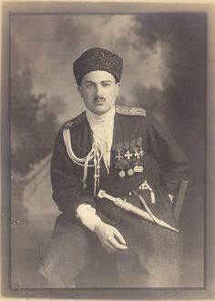 George full recipient, captain, Azerbaijanian regiment with the 'Wild' Division in He's wearing a uniform of Parliament Guards Cossack Hat, World War One, Military Art, Soviet Union, Riding Helmets, Army, History, Division, Crusaders