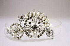 headband with side pearl and clear crystal by PapierCouture1, $55.00
