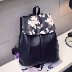 Girl Leather School Bag Travel Backpack Satchel Women Shoulder Rucksack Floral | eBay