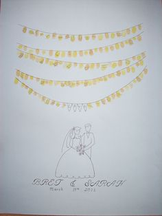 Fingerprint Art-hand drawn for an alternative guest book for weddings!!