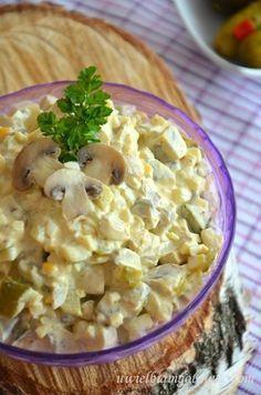 Sałatka pieczarkowa B Food, Slow Food, Appetizer Salads, Appetizer Recipes, Vegetarian Recipes, Cooking Recipes, Healthy Recipes, Mushroom Salad, Side Salad