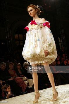 A model walks the runway during the Christian Lacroix fashion show as part of Paris Fashion Week (Haute Couture) Spring/Summer 2006 January 24, 2006 in Paris, France.