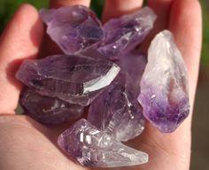 5 Amethyst Crystals Natural Purple Quartz by PriyaInspirations