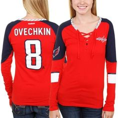 Women's Washington Capitals Alexander Ovechkin Reebok Red Faceoff Player Lace-Up Long Sleeve T-Shirt
