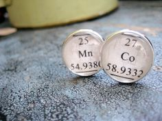 Heavy Metals, Chemistry Textbook Periodic Table Element Silver Cuff Links by LeftBrainRightBrain on Etsy