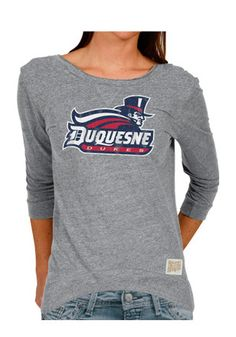 Top of the World NCAA Womens Trim Modern Fit Premium Triblend Long Sleeve Scoop Neck Gray Heather Tee
