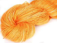 Organic Vegan  Bamboo Yarn Orange 3.5oz Hand dyed by Klarabela