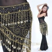 free shipping large size women belly dance hip scarf skirt wrap 88 coins 6 color