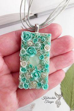 Polymer clay jewery set Flower pendant earrings Chalcedony