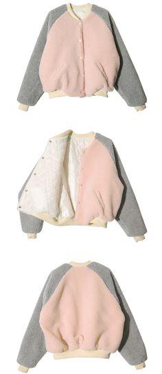 Soft Baseball Jacket (Pink + Gray) | STYLENANDA