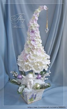 JUST A PIC, LOOKS LIKE WHITE CREPE PAPER 'PETALS', PEARL BEADS, ON A STEM PLACED IN A BOX - HOMEMADE WITH OLD XMAS CARDS? HEAVILY FROSTED IN 'SNOW' THIS IS BEAUTIFUL