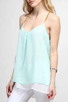 Silver Dotted Mint Chiffon Top