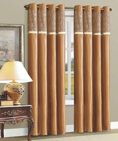 Take a look at this Taupe Zebra Flocked Curtain Panel by Beatrice Home on #zulily today!