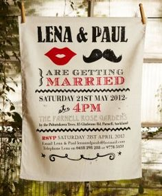 Wedding invitation, CUTEST EVER. Tea towels, fabric printing, doubles as a wedding favor, typography, vintage