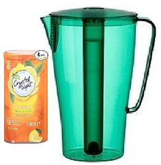 Bundle (5) Items ~ (1) Green Solfint Pitcher with Lid, 68 Oz with Removable Freezer Insert & (4) Containers of Crystal Light (Makes 48 Quarts Total), Lemon Decaf Iced Tea - http://teacoffeestore.com/bundle-5-items-1-green-solfint-pitcher-with-lid-68-oz-with-removable-freezer-insert-4-containers-of-crystal-light-makes-48-quarts-total-lemon-decaf-iced-tea/