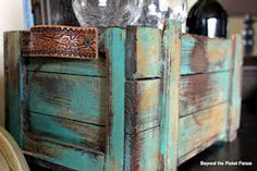 simple box/crate make-over...love the turquoise!