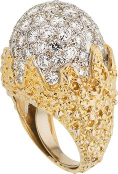 Diamond and Gold Dome Ring