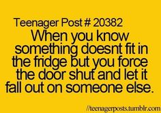 Teenager Post # 20382 - I do this whenever we have just gone grocery shopping.