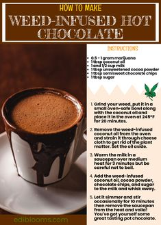 How to Make Weed-Infused Hot Chocolate [Edibles] Stay toasty as well was cozy with Mary Jane's hot chocolate recipe! Weed Recipes, Marijuana Recipes, Necterine Recipes, Chard Recipes, Jerky Recipes, Venison Recipes, Sausage Recipes, Vegan Hot Chocolate, Hot Chocolate Recipes