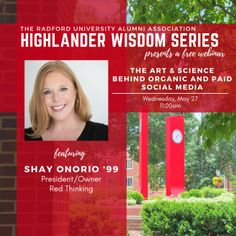Part One of a two part series. Dive into the science behind the back end of paid and organic social media with alumna Shay Onorio '99. Shay will share her knowledge on the 'why's' of organic and paid social media, why you need it, and where you are driving your audience. Join the conversation with the President and Owner of award-winning digital brand strategy and design company, Red Thinking, LLC. Radford University, Science Art, Behind, Conversation, Knowledge, Join, Wisdom, Organic, Social Media