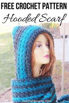 This crochet hooded scarf free pattern is a unique winter gift that any beginner can make. The simple tutorial is easy to follow with many pictures for reference. This gorgeous cowl with a hood will make a wonderful gift for any woman.  #crochet, #crochetscarf, #crochethoodedscarf, #crochethoodedscarfpattern, #crochetneckwarmer, #crochetwomenscarf Crochet Mitts, Crochet Mittens Pattern, Chunky Crochet, Free Crochet, Crochet Patterns, Scarf Patterns, Hand Crochet, Knitting Patterns, Hooded Scarf Pattern