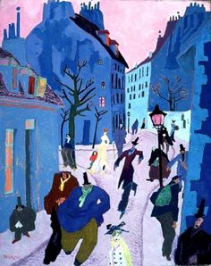 Lyonel Feininger - In un villaggio vicino Parigi ( o Strada a Parigi, Cielo rosa), 1909